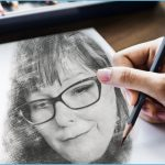 Drawn image of Soul To Soul Medium Eileen Casey Gonzalez on paper. Shows a pencil in a hand in the left lower corner of the page.