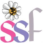 Logo for the Spiritual Science Fellowship, the head chapter. It has a daisy with an om sign n the middle on the left upper corner about the the pink letter S, next to a purple letter s, and a lilac letter f.