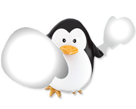 Image of a penguin with white boxing gloves on