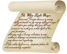Graphic of a tan scroll with the words White Light Prayer on it and small words representing the prayer.