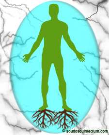 A green colored silhouette of a man in a aqua colored bubble. Beneath each his feet are faded brown roots growing into the earth. Around him is grey energy that looks like lightening.