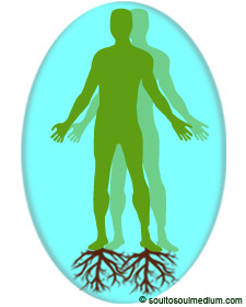 A green colored silhouette of a man in a aqua colored bubble. Beneath each his feet are faded brown roots growing into the earth. Inside the bubble is another outline on the man but faded. The image represents feeling beside one's self.