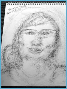 Mediumship Spirit Portrait Drawing of a woman who has her hair in a bun to the right side.