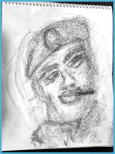 Sample of a Spirit Portrait Drawing by Edmonton Psychic Clairvoyant Medium Eileen Casey Gonzalez. The image is drawn in charcoal. It is an image of a military man wearing a bare' hat. He has a stick in his mouth and it looking up towards the left top corner of the page.