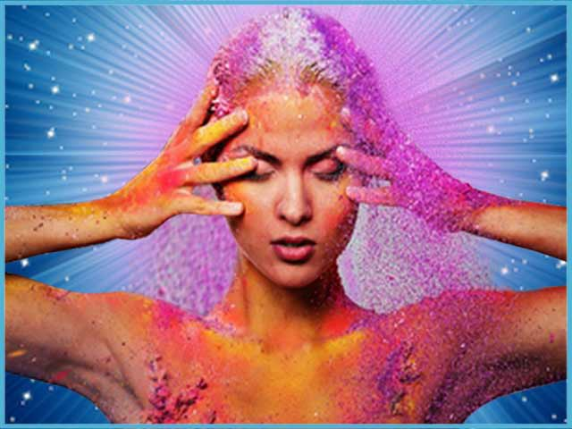 Image of a woman with her hands on her head, represents receiving information from spirit and mediumship.
