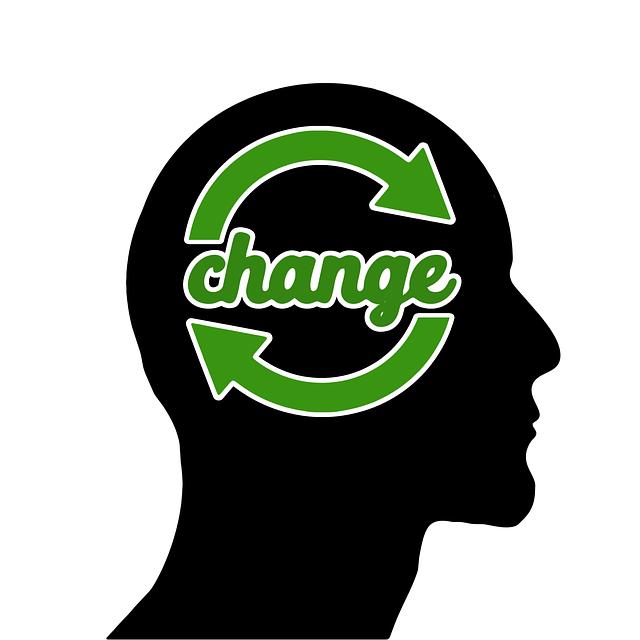 Silhouette of a head with word change written in green inside the head. On each side of the word their are circular arrows pointing in a rotating fashion.