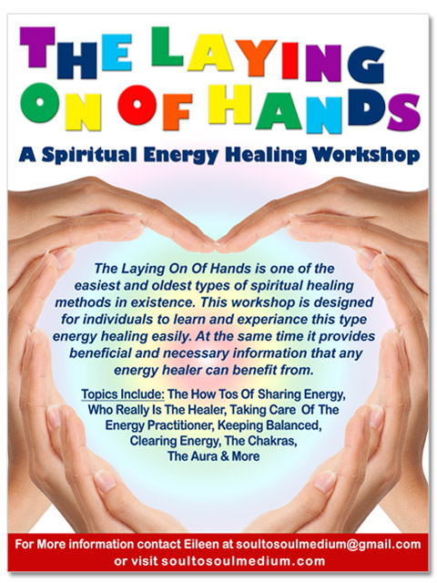 Poster image for the workshop, The Laying On Of Hands - A Spiritual Healing Workshop. Contains the information on the page about this event.